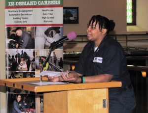 Tataiana Taylor, a current automotive student, shared her experience gaining hands-on lessons in the shop.