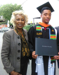 Madge Wilson, New Community Corporation board member and outreach coordinator, stands with Steed Amegbor after his graduation from Stevens Institute of Technology May 24. Photo courtesy of Madge Wilson.