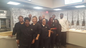 Students in the New Community Workforce Development Culinary Arts Specialist program visited Rutgers University-Newark Dining Services, which is run by Gourmet Dining, to learn more about how their skills are used in the real world. Photo courtesy of Rodney Brutton.