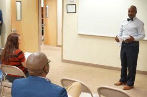 New Community Workforce Development Center Director Rodney Brutton welcomes Newark 2020 participants during the orientation May 14. New Community Workforce Development Center became the first Newark 2020 community hub to open. It will help connect job seekers to employers.