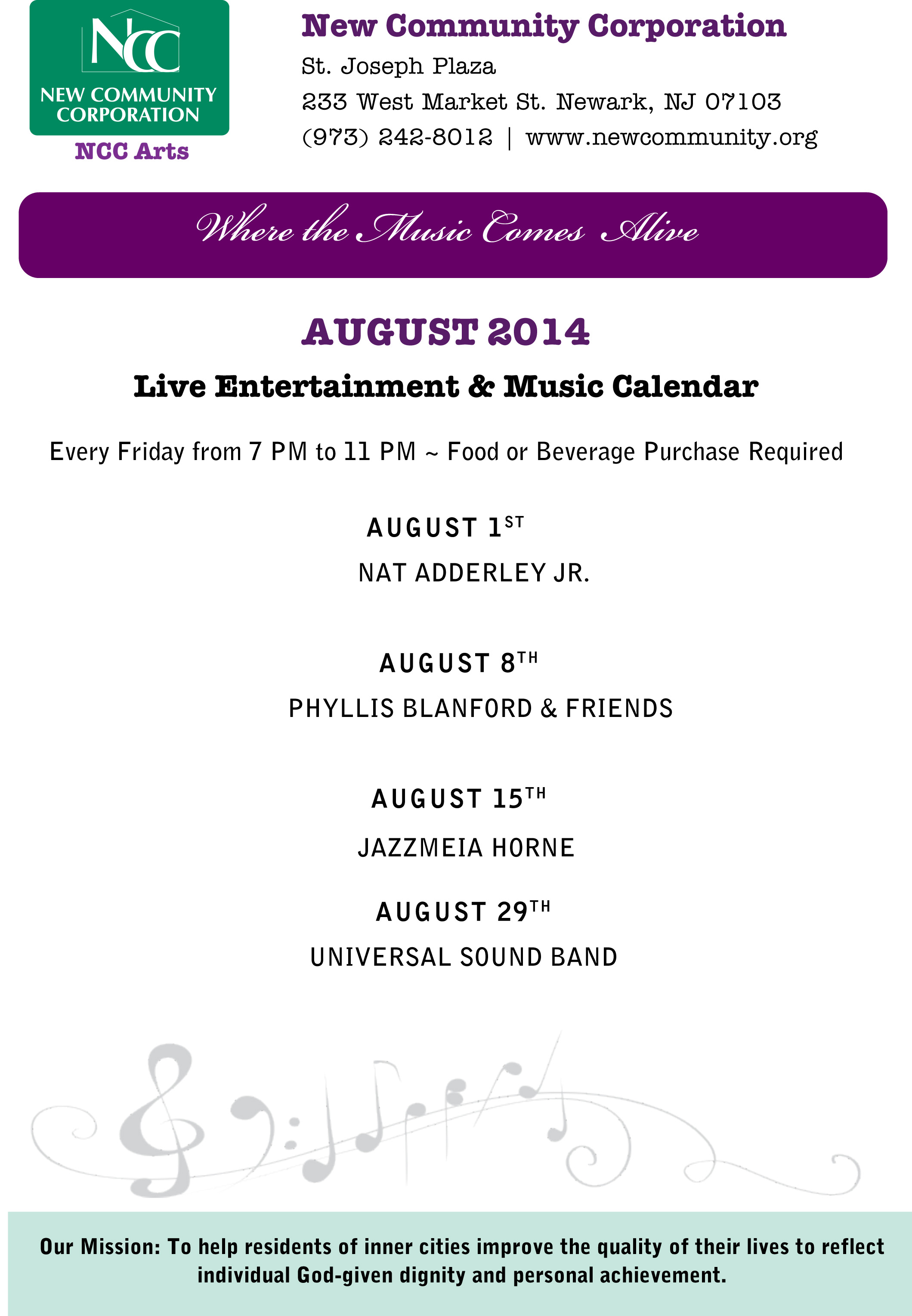 August 2014 Music Calendar The Priory New Community Corporation