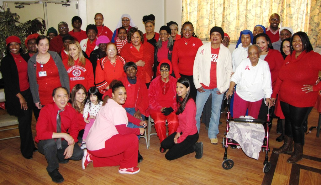 A file photo of NCC residents and staff on National Wear Red Day in 2015.