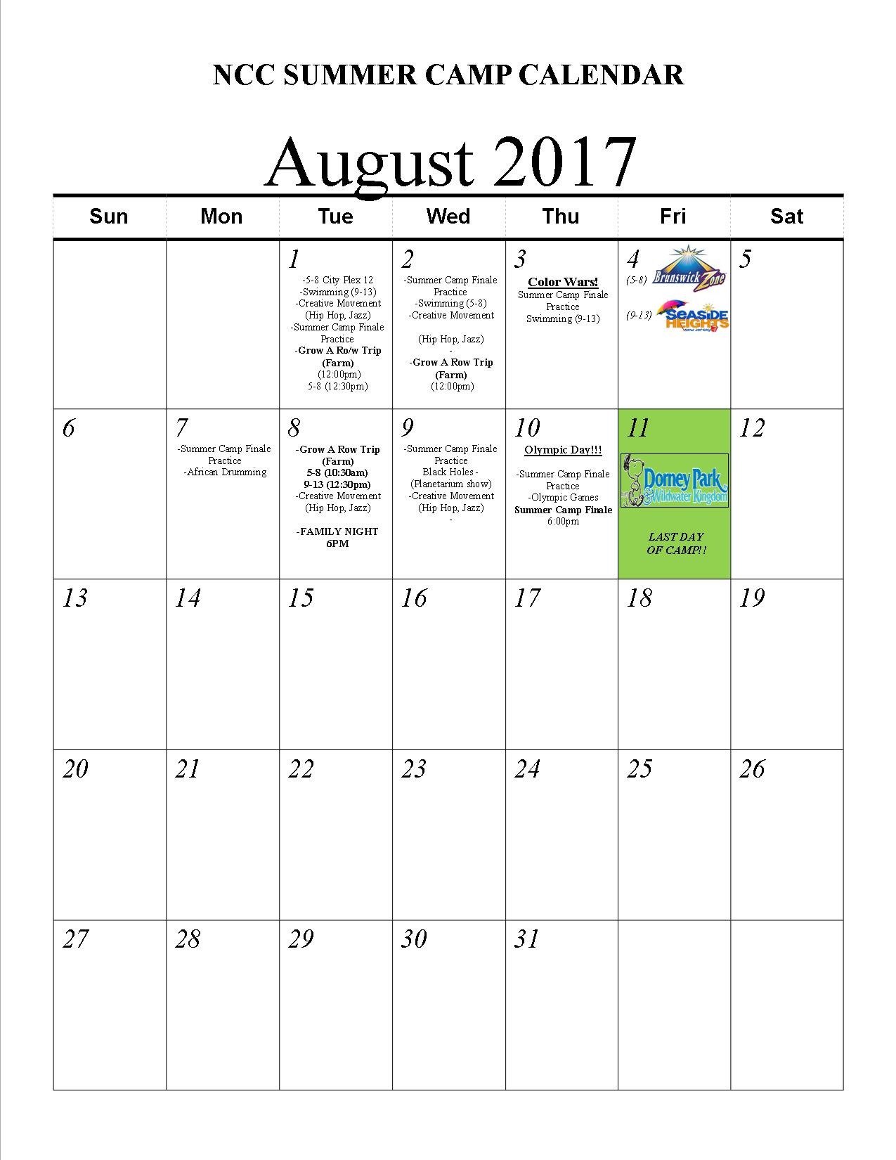 Summer Camp 2017 Schedule New Community Corporation