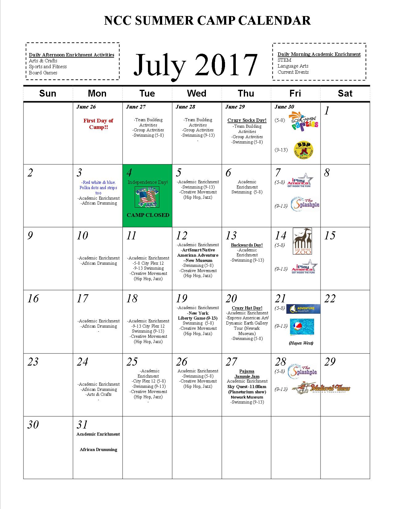 Summer Camp 2017 Schedule