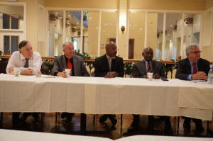 Gregory Garrett and Paul Fair, representing the Council on Occupational Education; New Community Workforce Development Center Director Rodney Brutton; NCC Board of Directors Member Dr. Zachary Yamba; and NCC CEO Richard Rohrman, left to right, participate in a breakfast meeting that was part of the Council on Occupational Education site visit in December.