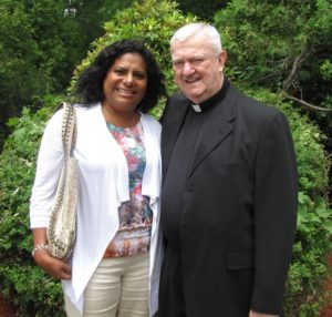Monsignor 75th birthday mass and reception, June 5, 2011--Msgr. & Zoraya Lee Hamlin CROPPED