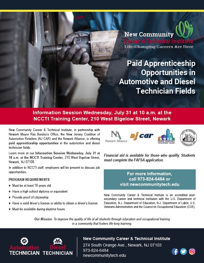 NCCTI Partners with NJ CAR and Others to Provide Paid Apprenticeship Opportunities to Automotive and Diesel Students