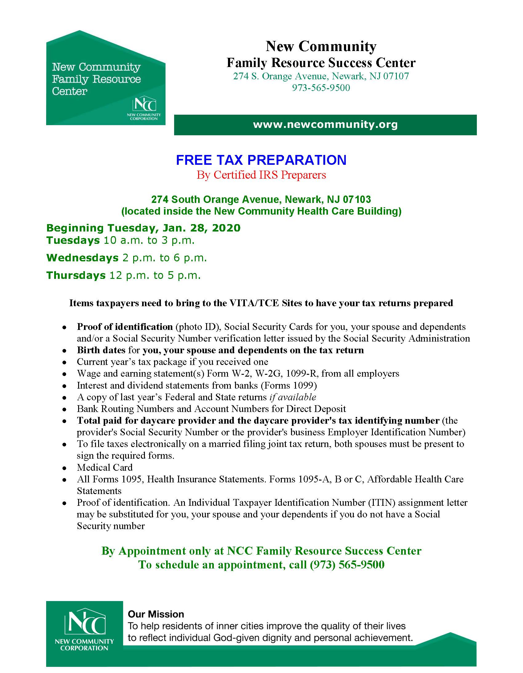 Free Tax Prep Available at Family Resource Success Center