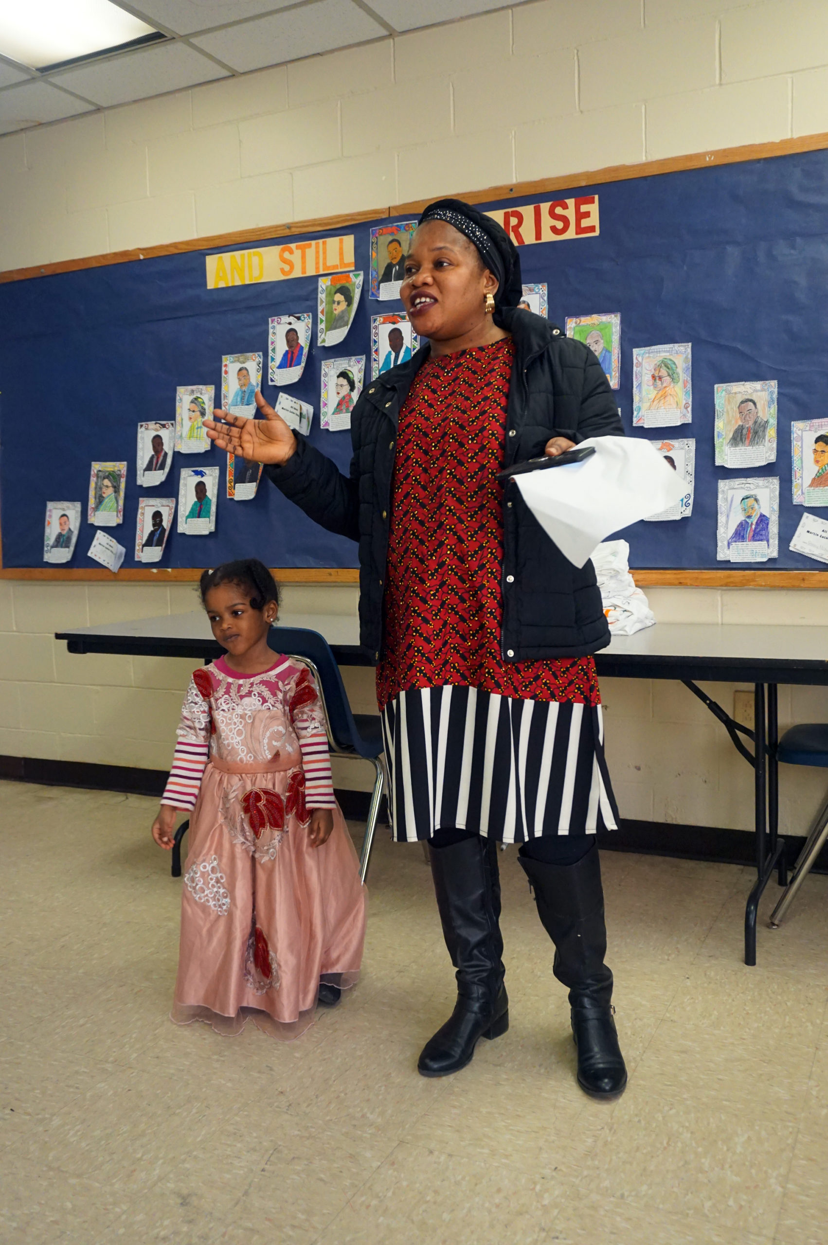 HHELC Cultural Diversity Day 2020 Mother in Red and Black Daughter in Dress