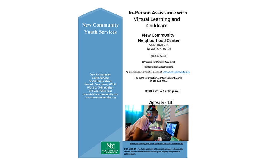 New Community Offers In-Person Assistance with Virtual Learning and Childcare for Children 5-13