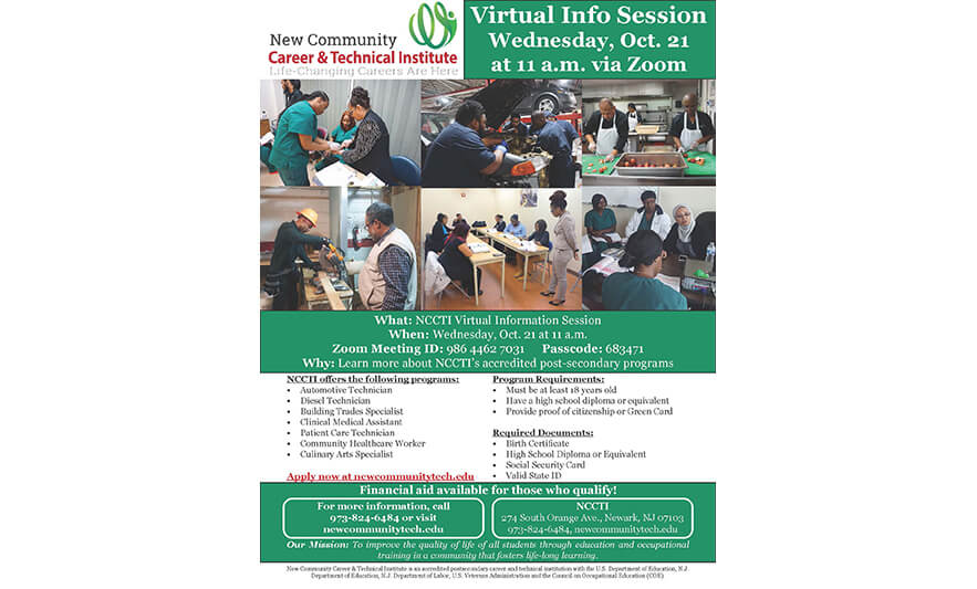 Attend New Community Career & Technical Institute Virtual Info Session Oct. 21